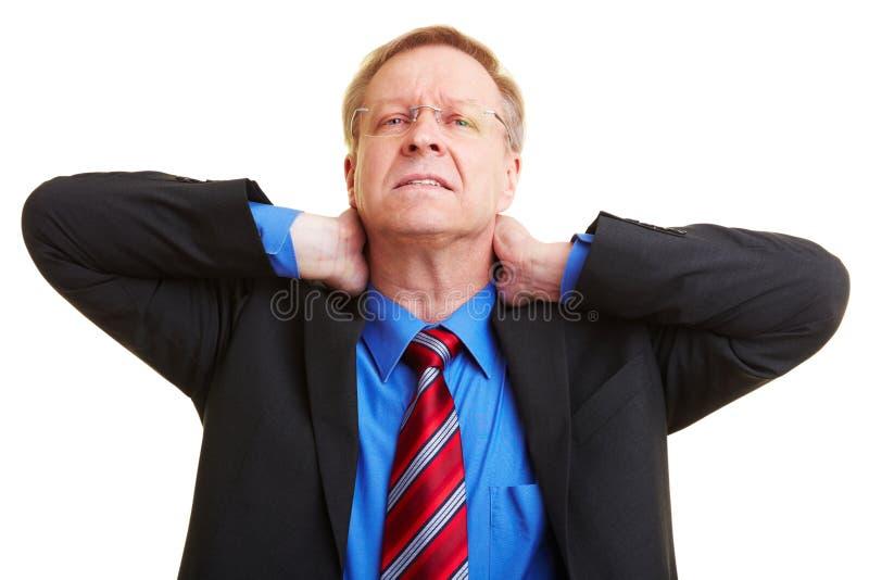 Geschäftsmann mit den Stutzenschmerz stockbilder