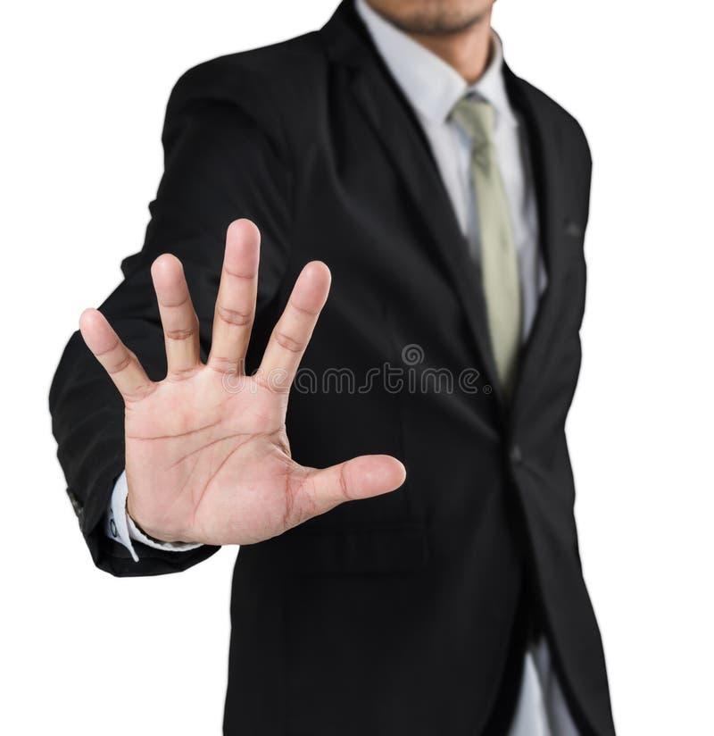Geschäftsmann mit der angehobenen öffnenden Hand, die nicht mehr Geste, nein macht stockbild