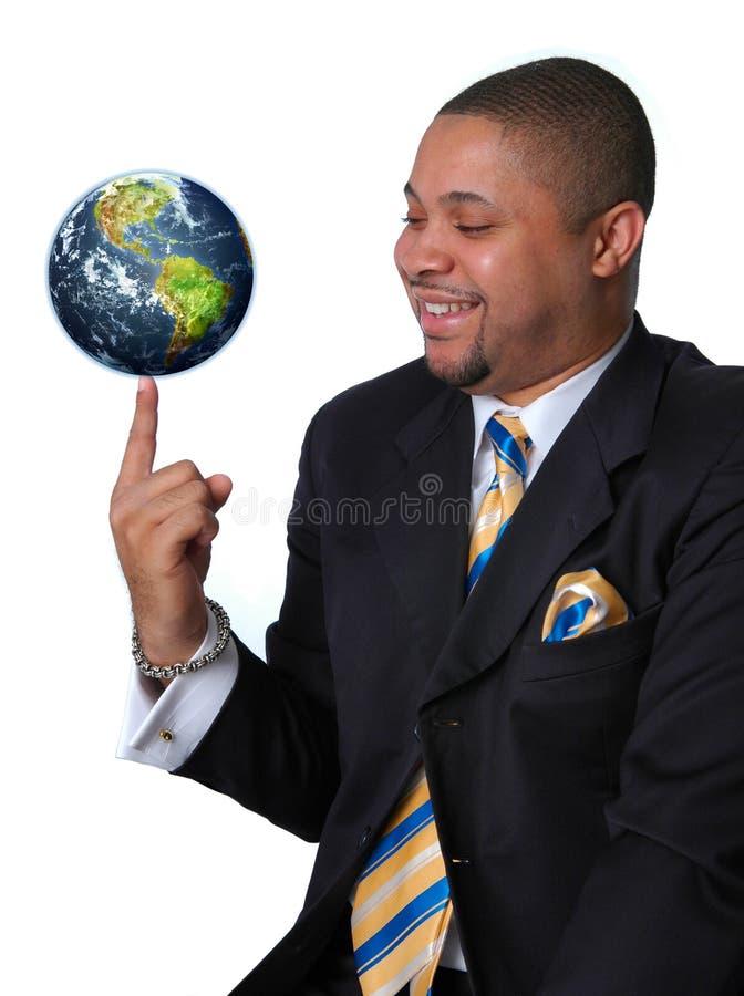 Geschäftsmann mit der Erde stockbilder