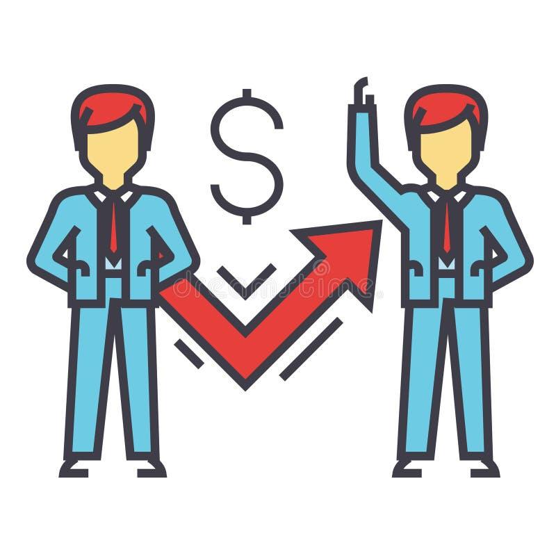 Geschäftsmann mit Diagramm, erfolgreiches Geschäft, Gewinn, Ziel, Analytik, Konzept gedanklich lösend vektor abbildung