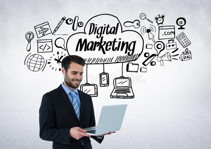 Geschäftsmann mit digitalen Marketing-Zeichnungsgraphiken stock abbildung
