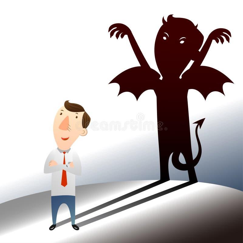 Geschäftsmann mit dunkler Seite lizenzfreie abbildung