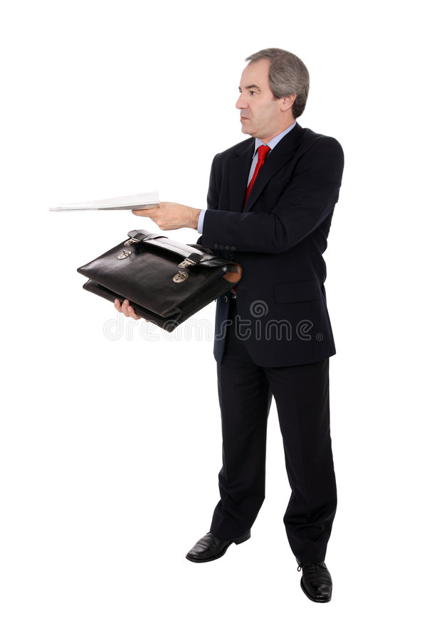 Geschäftsmann mit einem Aktenkoffer lizenzfreies stockbild