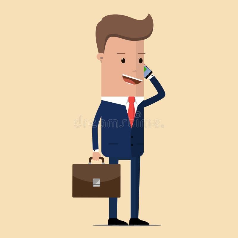 Geschäftsmann mit einem Aktenkoffer in seiner Hand sprechend an einem Handy Manager, der am Handy spricht Geschäftsförderungskonz vektor abbildung