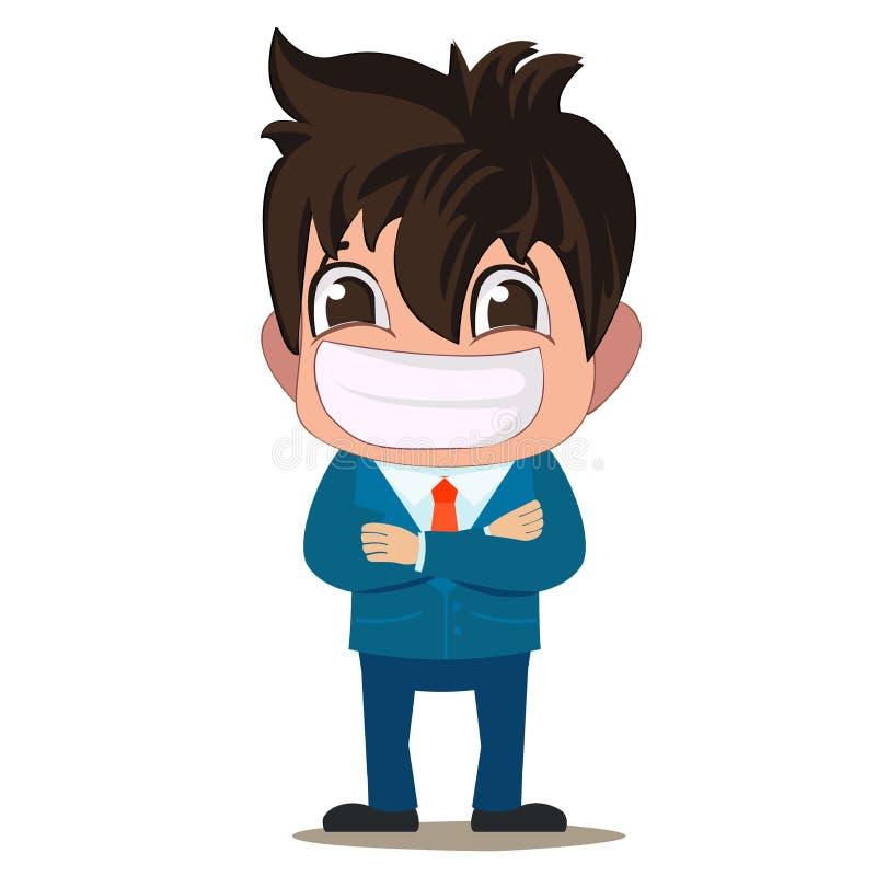 Geschäftsmann mit einem großen Lächeln Oben abgreifen, stellend und mit den Händen gekreuzt dar lizenzfreie abbildung