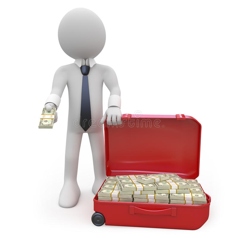 Geschäftsmann mit einem Koffer voll von den Wads des Bargeldes