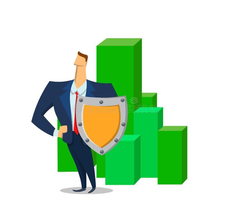 Geschäftsmann mit einem Schild vor geen Blöcke mit Politik Schützende Anlagegüter des Versicherungsagenten Ebene farbiger Vektor stock abbildung