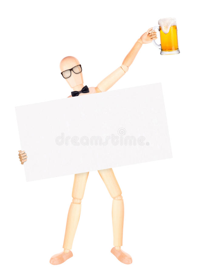 Geschäftsmann mit Fahne und Bier stockfotos