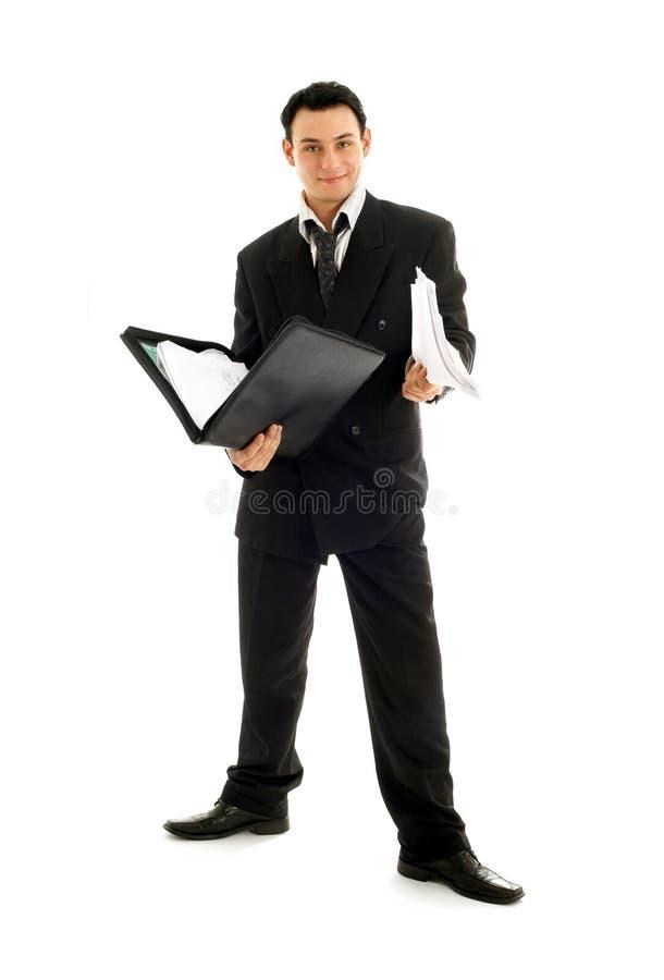 Geschäftsmann mit Faltblatt lizenzfreies stockfoto