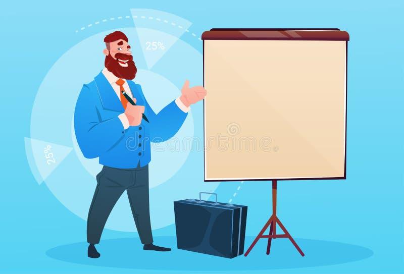 Geschäftsmann mit Flip Chart Seminar Training Conference-Brainstorming-Darstellung lizenzfreie abbildung