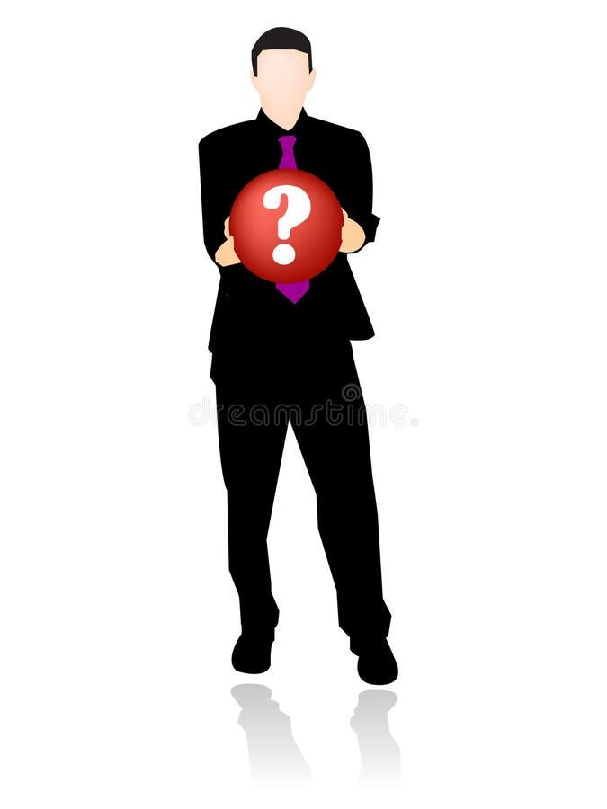 Geschäftsmann mit Fragensymbol stock abbildung