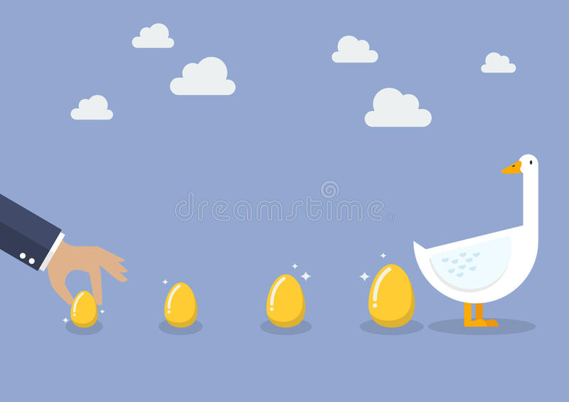 Geschäftsmann mit Gans und goldenem Ei stock abbildung