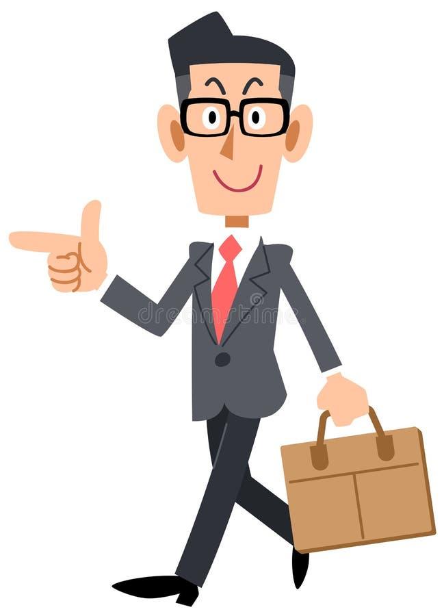 Geschäftsmann mit Gläsern zeigend auf die Richtung der Reise lizenzfreie abbildung