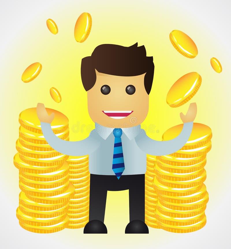 Erfolgreicher Geschäftsmann mit Stapeln Goldmünzen vektor abbildung