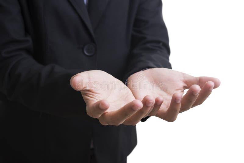 Geschäftsmann mit Handhoffnung etwas lokalisiert auf Weiß stockfotografie