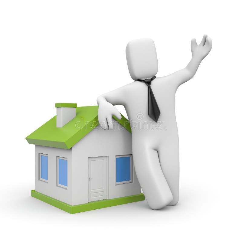 Geschäftsmann mit Haus. Darlehensmetapher lizenzfreie abbildung
