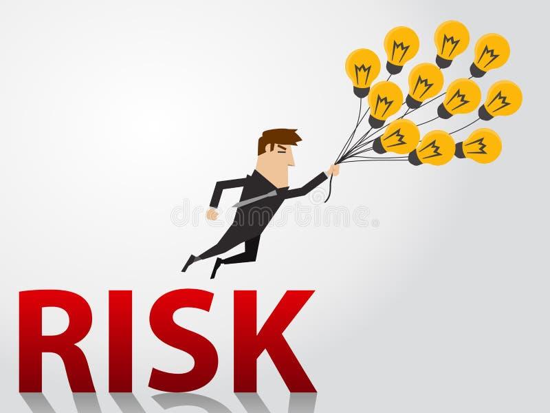 Geschäftsmann mit Ideenballonen fliegen weg von Risiko lizenzfreie stockfotos