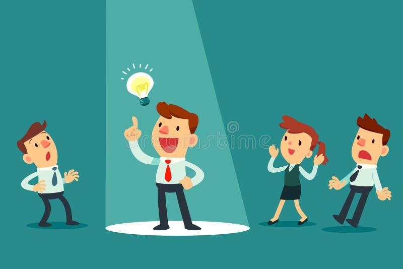 Geschäftsmann mit Ideenbirne im Scheinwerfer lizenzfreie abbildung
