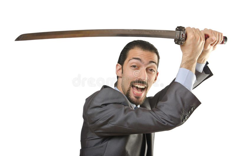 Geschäftsmann mit Klinge lizenzfreie stockfotos