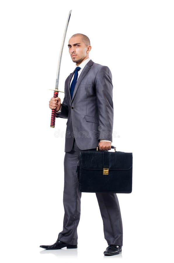 Geschäftsmann mit Klinge stockbild