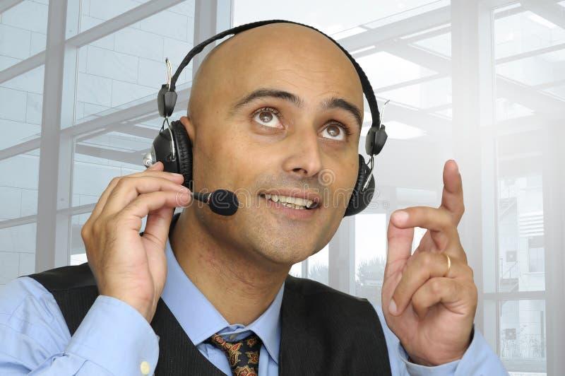 Geschäftsmann mit Kopfhörer stockfotos