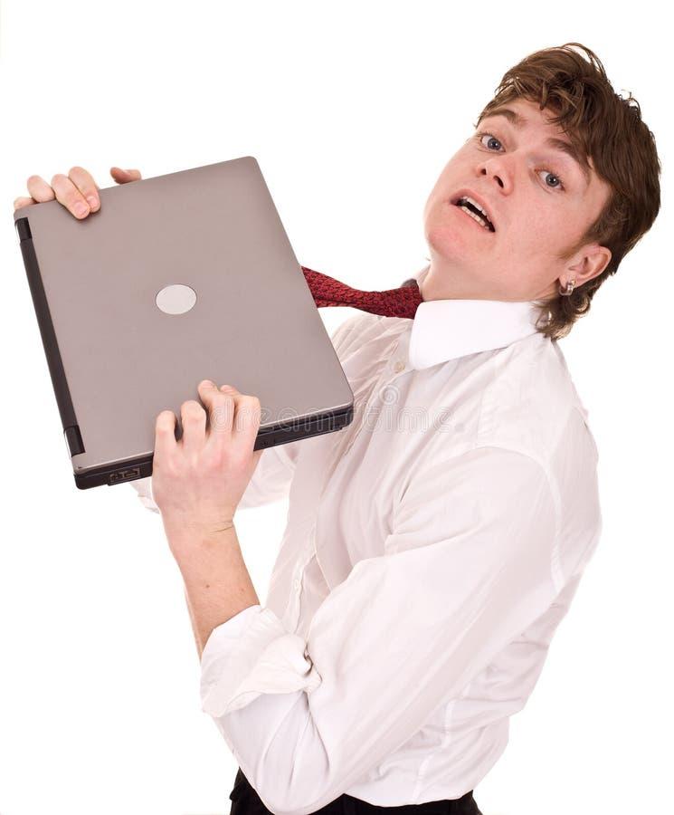 Geschäftsmann mit Laptop im Hemd. stockfotografie