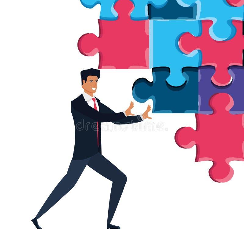 Geschäftsmann mit lokalisierter Ikone des Puzzlespiels Stücke stock abbildung