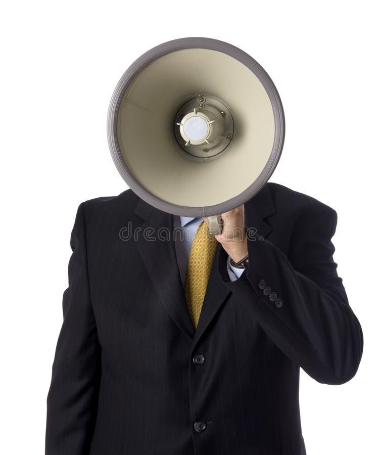 Geschäftsmann mit Megaphon lizenzfreie stockfotos