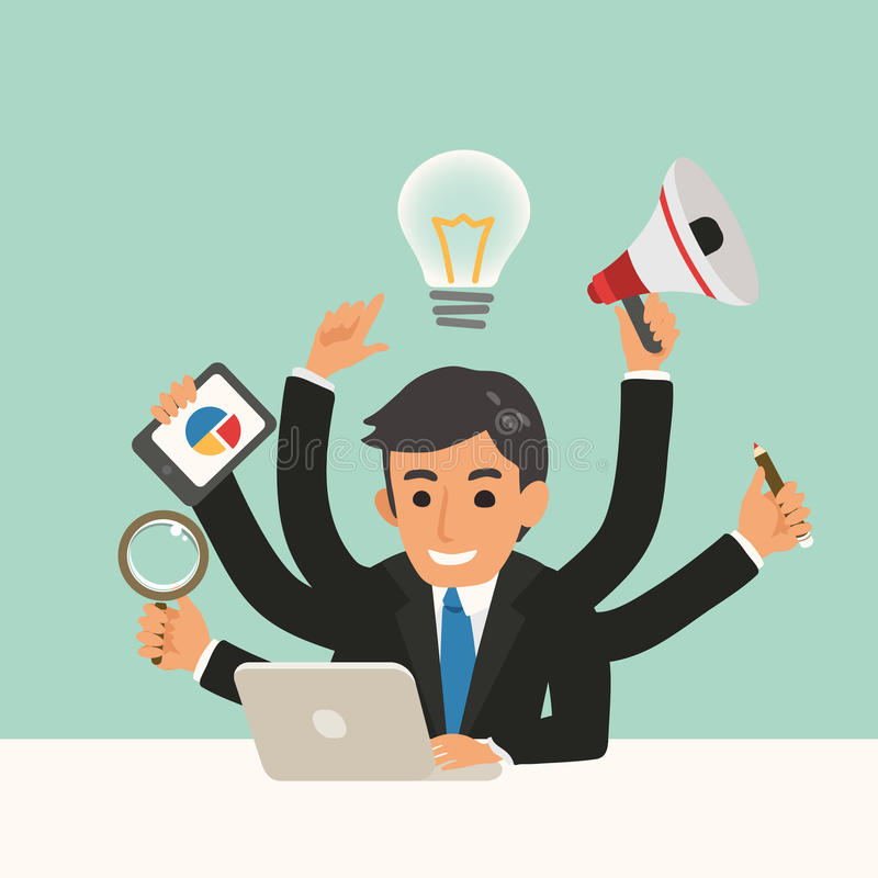 Geschäftsmann mit Mehrprozeßfähigkeitskarikaturillustration stock abbildung