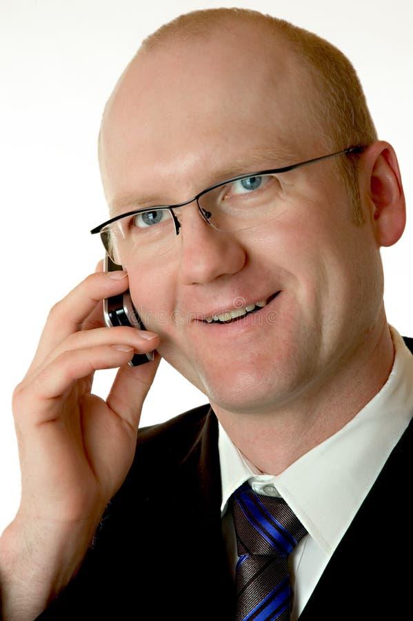 Geschäftsmann mit Mobiltelefon stockfotos