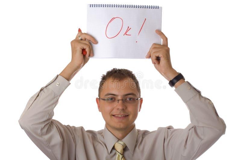 Geschäftsmann mit Notizbuch stockfoto