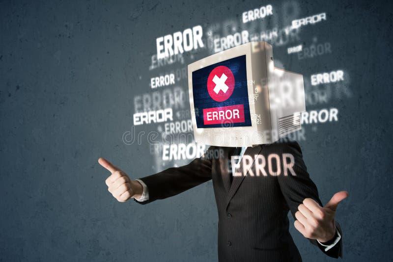 Geschäftsmann mit PC-Monitor auf seinen Kopf- und Fehlermeldungen auf t lizenzfreies stockfoto