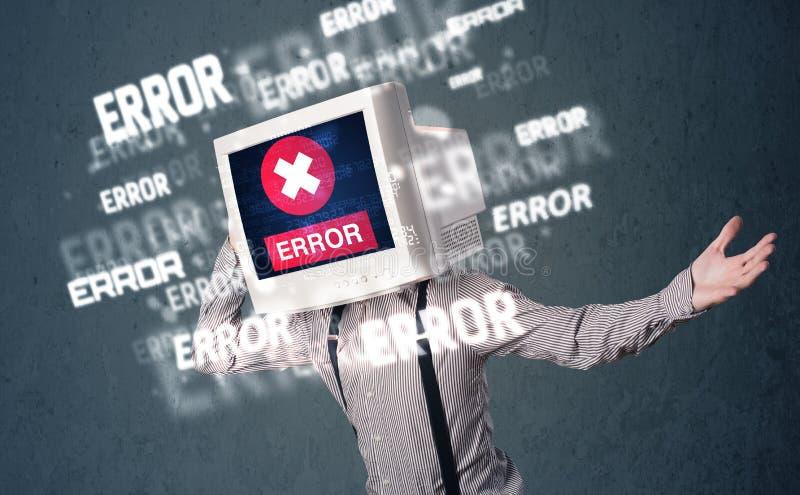 Geschäftsmann mit PC-Monitor auf seinen Kopf- und Fehlermeldungen auf t stockbilder