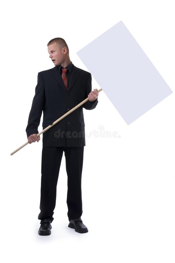 Geschäftsmann mit Pfosten. lizenzfreies stockfoto
