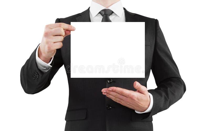 Geschäftsmann mit Plakat stockfotografie