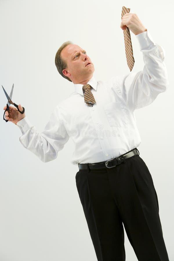 Geschäftsmann mit Schnittgleichheit stockfotos