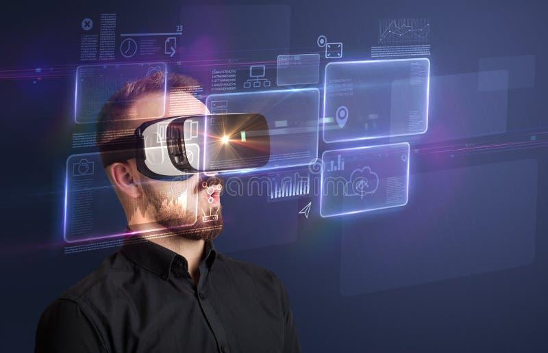 Geschäftsmann mit Schutzbrillen der virtuellen Realität stockbilder