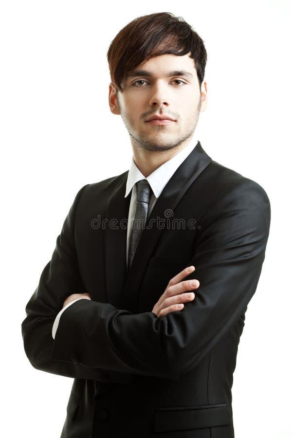 Geschäftsmann mit schwarzer Klage stockbild