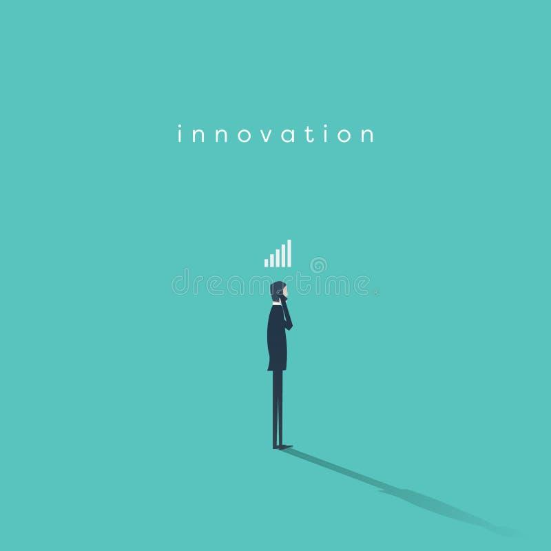 Geschäftsmann mit Smartphone- und Signalstange über seinem Kopf Symbol der Technologie im Geschäft, Zusammenhang und stock abbildung