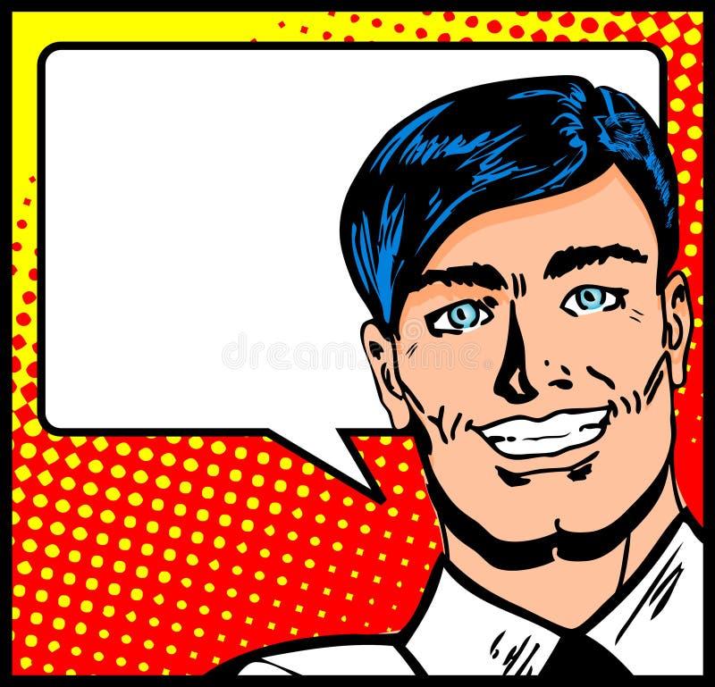Geschäftsmann mit Sprache-Luftblase stock abbildung
