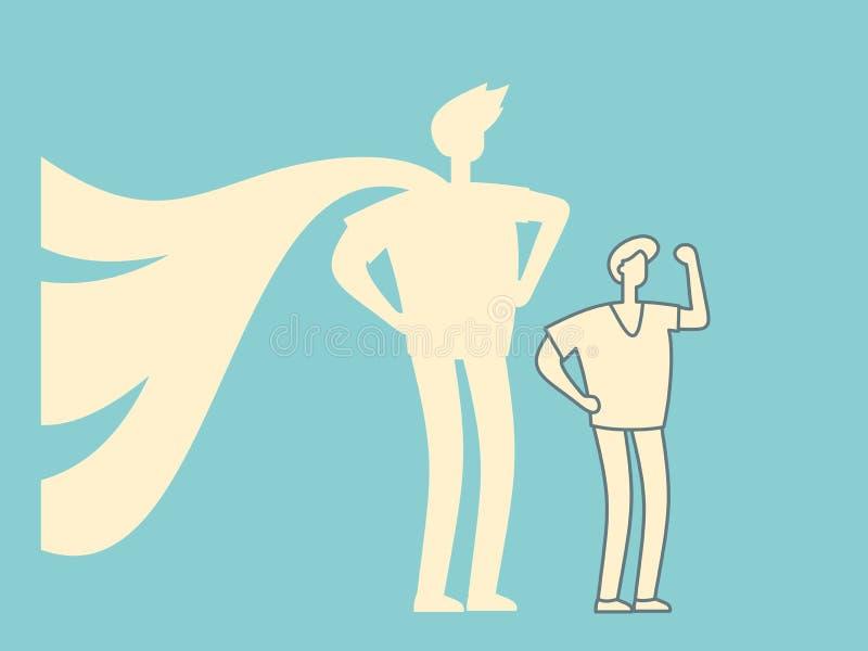 Geschäftsmann mit Superheldschattenkonzept lizenzfreie abbildung
