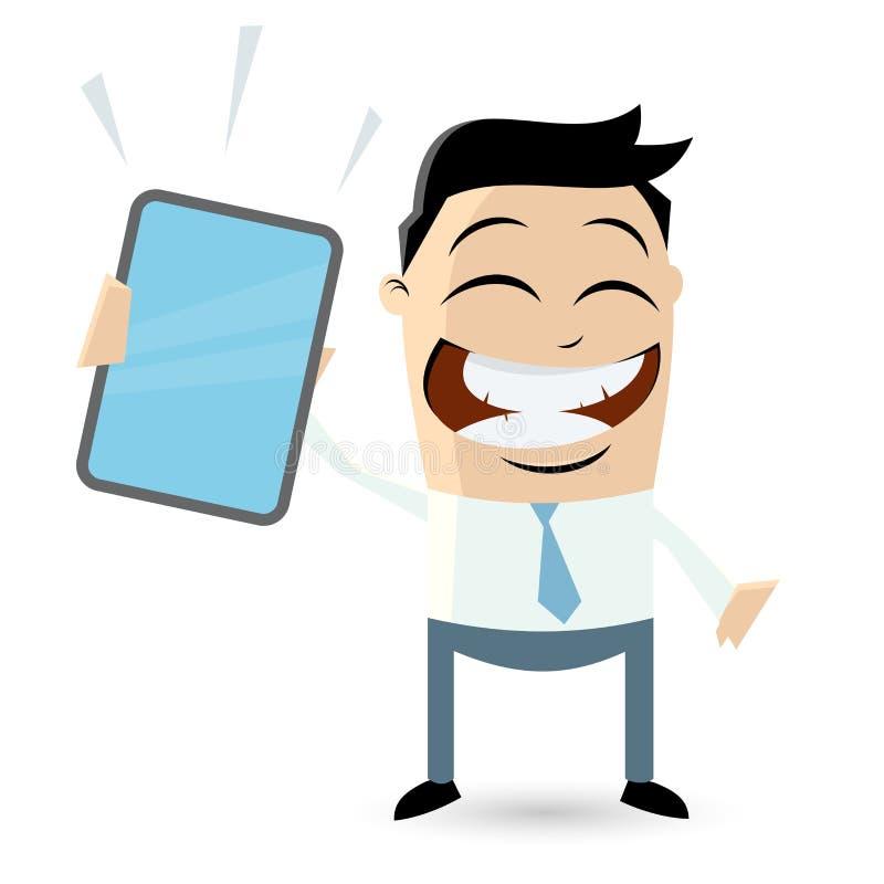 Geschäftsmann mit Tablet-Computer lizenzfreie abbildung