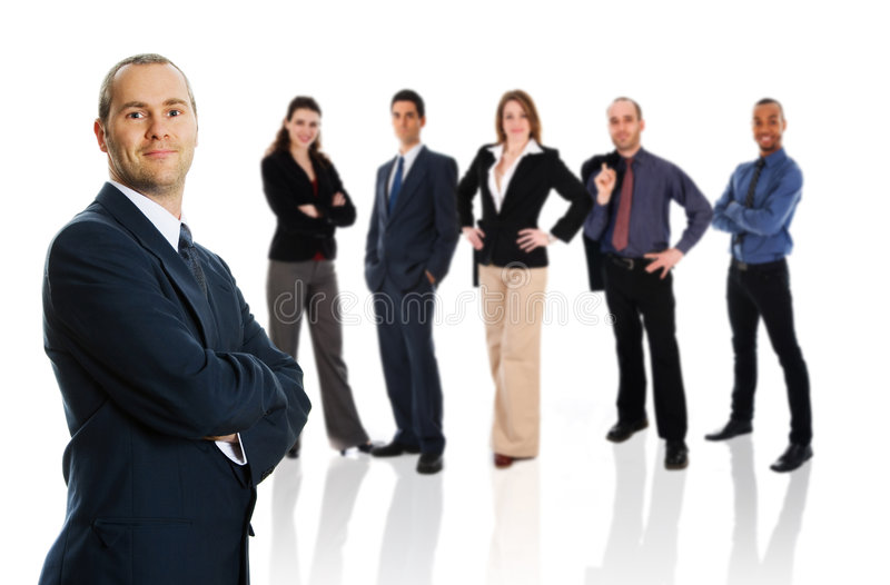 Geschäftsmann mit Team stockfotos
