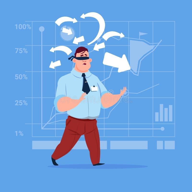 Geschäftsmann mit Verband auf Augen wählen Richtungs-Weisen-Pfeil-Risiko-Konzept lizenzfreie abbildung