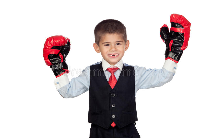Geschäftsmann mit Verpackenhandschuhen stockbild