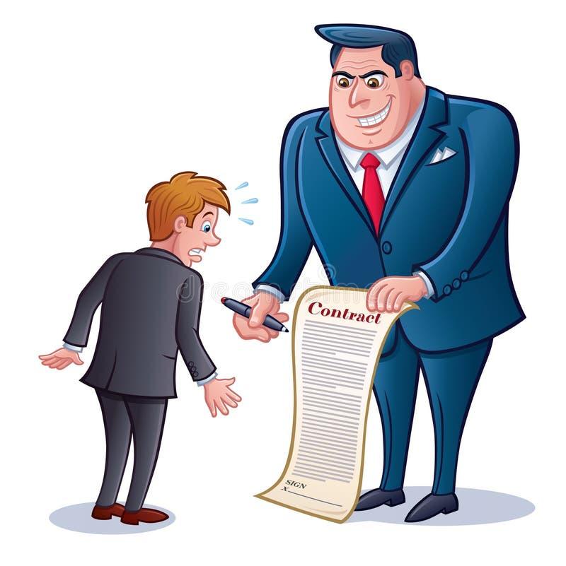 Geschäftsmann mit Vertrag zum Zeichen lizenzfreie abbildung