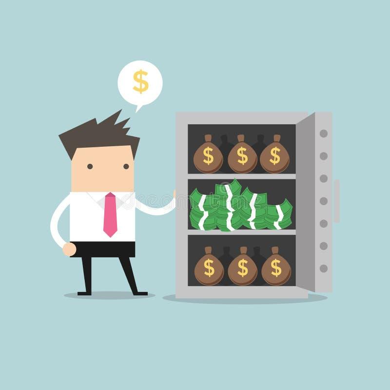 Geschäftsmann mit vielem Geld bauscht sich und Stapel Dollar im Safe stock abbildung
