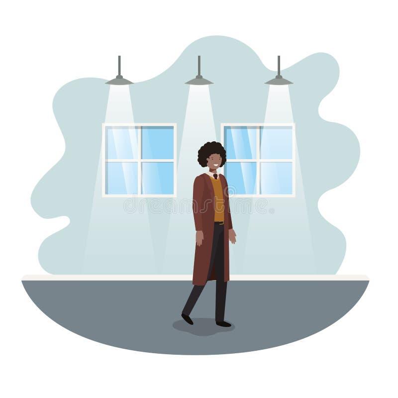 Geschäftsmann mit Wand- und Fensteravataracharakter lizenzfreie abbildung