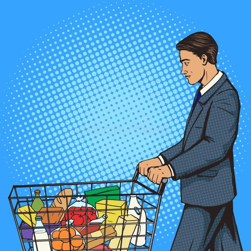 Geschäftsmann mit Warenkorbpop-arten-Vektor lizenzfreie abbildung