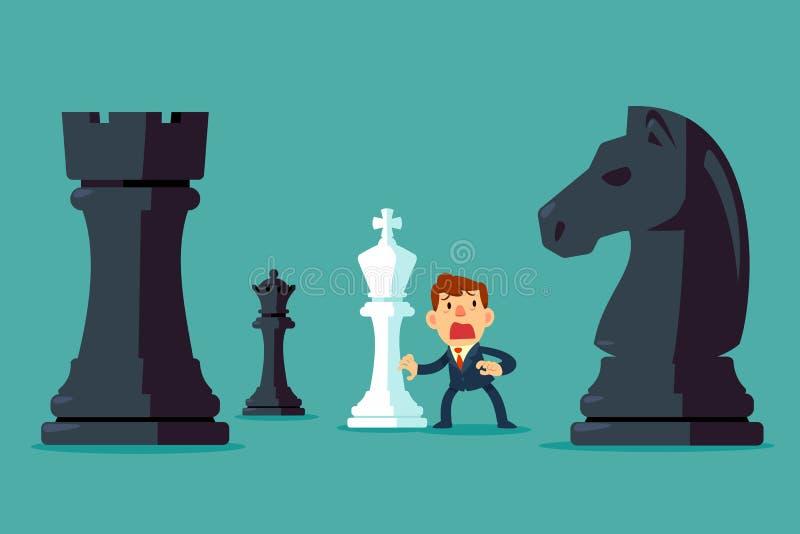 Geschäftsmann mit weißer Schachfigur erhalten durch schwarzes Schach umgeben lizenzfreie abbildung